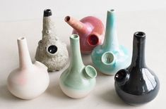 We're unveiling our new mini bongs tonight and tomorrow at our studio sale in Montreal. Ceramic Clay, Ceramic Pottery, Slab Pottery, Ceramic Bowls, Ceramics Projects, Clay Projects, Diy Clay, Clay Crafts, Glass Pipes And Bongs