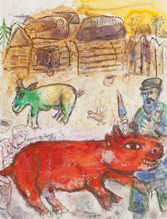 The kosher butcher, 1971, gouache, watercolor and pastel on paper by Marc Chagall (1887 - 1985). The art work will be displayed at BRAFA 2016 by Francis Maere Fine Arts.