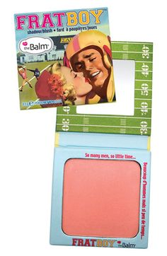 theBalm 'Frat Boy' Blush - a subtle peach apricot color that's still buildable and still shows up on medium skin. Great for daytime/work settings.