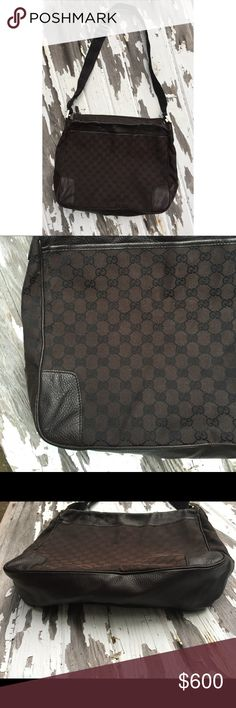 Gucci messenger bag Authentic brown and black monogram Gucci messenger bag. In very good condition. Gucci Bags Shoulder Bags