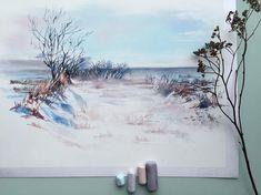 """На улице сейчас такая красота❄️ Так много снега, мне кажется, было только в детстве. Но тогда у меня были только санки, которые не надо было чистить два раза в день и они не буксовали в сугробе. Поэтому любуемся снежной красотой с лопатой в руках😂👍 А для этого зимнего пейзажа решила попробовать белый Canson Touch, чтобы уж наверняка. Очень удобно, когда цвет бумаги является фоном работы😉 Пастель использовала в основном Mount Vision. Набор """"Грозовые серые"""". Цветовая гамма там очень…"""