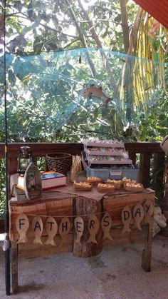 Cake table father's day fishin'g theme, vintage decor