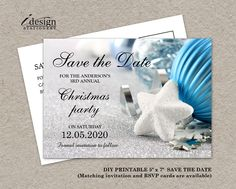 Christmas, Winter Or Holiday Party Invitation Save The Date Card With A White Snowflake And Blue Silver Ornaments By iDesignStationery On Etsy - $4.95