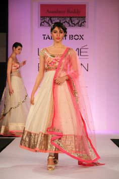 OMG!! Is this a princess parade or what? Baby pink and white …sweet as sugar…. straight from fairyland Love love all her creation …The net, the glitter the soft hues all took my heart away…The floor sweeping anarkalis are looking so gorgeous!! Want em all…love em all Anushree Reddy