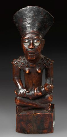 Africa | Seated maternity figure ~ 'pfemba' ~ from the Yombe people of DR Congo | Wood; fine aged patina | ca. 1964 or earlier