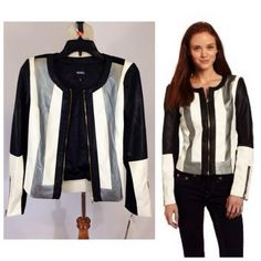 "Contemporary faux leather jacket Very chic Black ,white & gray jacket by XOXO. Part of the fabric is faux leather. gold zipper closure & zipper at the end of  sleeves. Size  Small. Measurement: shoulder to shoulder 14"" length 19.5"" XOXO Jackets & Coats"
