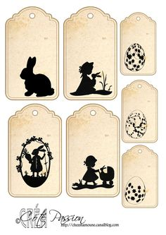 Fiche étiquettes Paques silhouettes Cote Passion- think this means Easter tags Vintage Tags, Vintage Paper, Etiquette Vintage, Easter Printables, Printable Labels, Easter Crafts, Easter Bunny, Holiday Fun, Stencil