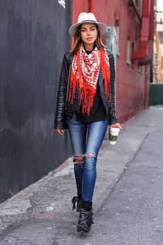 T+C by Theodora & Callum Evil Eye square scarf in red & red/rhodium open evil eye bangle | A.L.C. studded leather motorcycle jacket | Rag & Bone The Skinny jeans & leather-trimmed wool-felt fedora | Chanel Boy flap bag in perforated leather | Isabel Marant Aleen Ankle boots { in brown here & here }