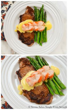 Perfectly Pan Seared Steak with Hollandaise Sauce and Lobster Tail from Serena Bakes Simply From Scratch. Steak Recipes, Seafood Recipes, Gourmet Recipes, Dinner Recipes, Cooking Recipes, Healthy Recipes, Sushi Recipes, Gourmet Foods, Steak And Lobster Dinner