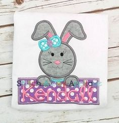 Bunny Girl Name Frame Applique - 4 Sizes! | What's New | Machine Embroidery Designs | SWAKembroidery.com Stitch Away Applique