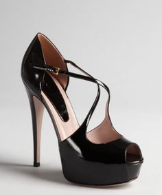 Gucci black patent leather cutout platform peep toe pumps | BLUEFLY up to 70% off designer brands
