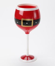 Red Santa Belt Wine Glass