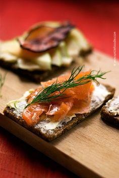 Norwegian Salmon open faced sandwich Crisp bream, cream cheese, smoked salmon and dill or Nork smørrebrød