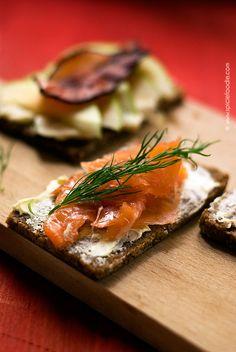 Salmon sandwich or Danish smørrebrød