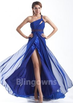 One Shoulder Crystals Sequins Open Back Blue A-line Chiffon Sweep Sleeveless Evening / Prom Dresses