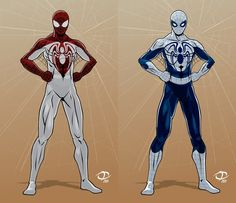 """A couple more costume designs for Project: Rooftop and Flying Colors Comics Present """"Spider-Man: Webhead Redesign Contest Check it out at: [l. Webhead designs part 2 Marvel Art, Marvel Dc Comics, Marvel Heroes, Spiderman Suits, Spiderman Costume, Comic Book Characters, Marvel Characters, Spider Art, Superhero Design"""