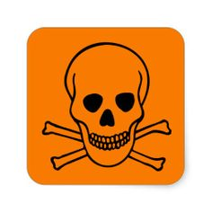 Skull and Crossbones Hazard Square Stickers