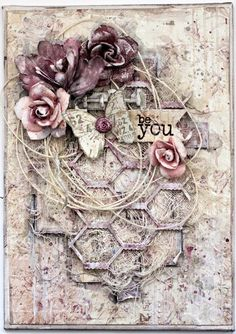 Be You mixed media canvas. Prima Butterfly paper collection
