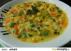 Zeleninová polévka s kapáním recept - TopRecepty.cz Risotto, Food And Drink, Meat, Chicken, Ethnic Recipes, Catalog, Cubs