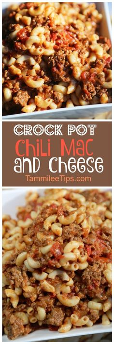 Simple, easy to make Crock Pot Chili Mac and Cheese Recipe! The slow cooker does all the work! Perfect for family dinners! Save your dishes and use the crockpot! Hamburger, Pasta, Chili and more make (Chicken Chili Mac) Chili Mac Crockpot, Crockpot Dishes, Crock Pot Slow Cooker, Crock Pot Cooking, Slow Cooker Recipes, Beef Recipes, Cooking Recipes, Recipies, Goulash Recipes