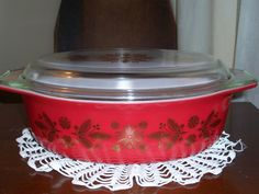 Rare Vintage Pyrex Red/Golden Poinsettias... 2.5 by MirandasRoom