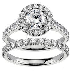 14k/ 18k White Gold 2 1/4ct TDW Diamond Engagement Bridal Set (G-H, SI1-SI2) (18k Gold - Size 6.0), Women's (solid)