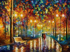 Rain Rustle - Original Oil On Canvas by Leonid Afremov by Leonid Afremov