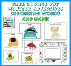 Emberley: Free 20 page PDF printable book of MONSTER ADJECTIVES can go along with Where the Wild Things Are - Pinned by – Please Visit for all our pediatric therapy pins Adjective Games, Adjectives Activities, Speech Therapy Activities, Speech Language Pathology, Language Activities, Literacy Activities, Speech And Language, Monster Activities, Language Development
