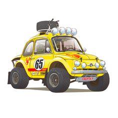 As we bid farewell to 2018's Dakar Rally, I leave you my squadron of adorable Dakar race cars.  #dakar2018 #dakar #dakarrally #fiat #fiat500 #fiat500abarth #porsche911 #porsche #porscherally #autobianchia112 #autobianchi #abarth #offroad #rallyraid #4x4 #iamthespeedhunter #speedhunters #racing #offroadracing #damonmoran #damonmoranart #drivefreeordie