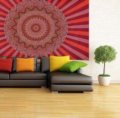 INDIAN MANDALA TAPESTRY WALL ART  84X54 In