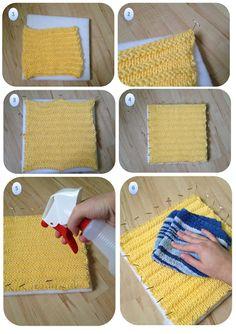 Blocking Acrylic Yarn - Tutorial  ❥ 4U // hf