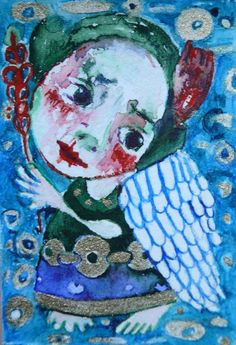 folk art angels painting mini art original  naive primitive watercolor & acrylic #NaivePrimitive