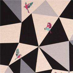 wide mosaic echino poplin fabric black bird triangle