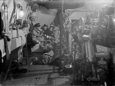 Tea and biscuits, main battery turret, HMS Rodney, 1940