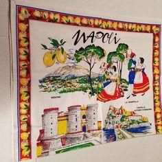 Vintage Italian Souvenir Tea Towel Napoli Lemons Limoncino 100% Cotton NEW