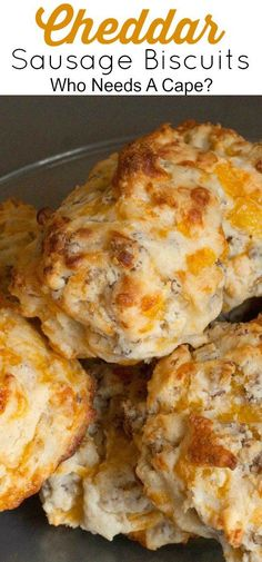 Our family loves Cheddar Sausage Biscuits! Loaded with cheesy goodness and sausa… Our family loves Cheddar Sausage Biscuits! Loaded with cheesy goodness and sausage they make a great breakfast or lunch item! Sausage Muffins, Sausage Biscuits, Breakfast Sausage Recipes, Breakfast Biscuits, Breakfast Casserole Sausage, Brunch Recipes, Sausage Appetizers, Breakfast Sausages, Sausage Gravy