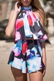 Colorful Print Halter Crop Top Shorts Buttom