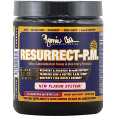 Ronnie Coleman Signature Series Resurrect-PM Strawberry Watermelon 25 svg   Regular Price: $69.99, Sale Price: $39.99   OvernightSupplements.com   #onSale #supplements #specials #RonnieColeman #SleepAids    RESURRECT P M Ultra Concentrated Sleep Recovery FormulaRECOVERY ANABOLIC GrowtH SUPPORT PROMOTES DEEP RESTFUL R E M SLEEP SUPPORTS LEAN MUSCLE GROWTH RESURRECT P M helps to keep you in a normal sleep cycle so that you can achieve all stages of sleep necessary to heal both