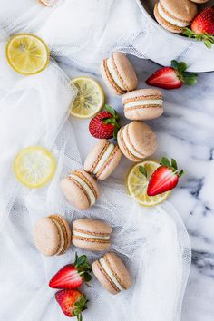 Strawberry Lemon Macarons These macarons are perfect for spring! Bursting with bright strawberry flavor and filled with a sweet, fresh lemon buttercream! Macaroons Flavors, Lemon Macaroons, Macarons, Lemon Recipes, Baking Recipes, Cookie Recipes, Dessert Recipes, Kitchen Recipes, Lemon Buttercream