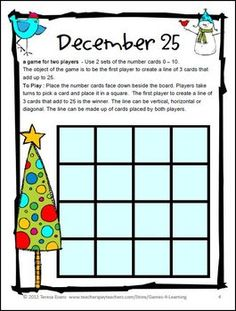 FREEBIES - A Christmas math board game from Christmas Math Games by Games 4 Learning contains 2 printable Christmas Math Board Games - Merry Christmas! Math Board Games, Math Games, Math Activities, Fun Games, Noel Christmas, Christmas Crafts, Christmas Maths, Christmas Things, Math School