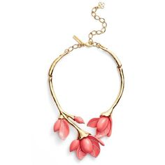 Women's Oscar De La Renta Magnolia Necklace ($690) ❤ liked on Polyvore featuring jewelry, necklaces, melon, oscar de la renta, flower jewellery, flower jewelry, handcrafted swarovski crystal jewelry and handcrafted jewellery