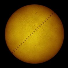 The Sun, Mercury (the little spot) and the ISS.