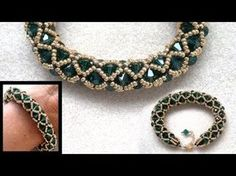 Beading4perfectionists : Netted bracelet with 6mm Swarovsk and seedbeads beading tutorial - YouTube