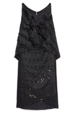 Black Laser Bonded Embroidered Satin Dress