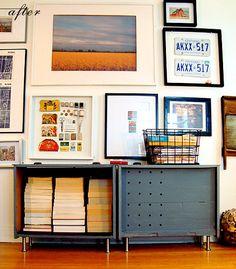 drawers repurposed as bookshelves