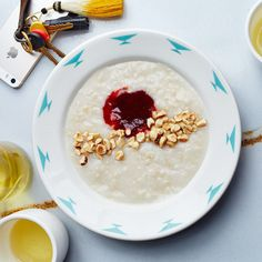 Almond Milk Brown Rice Porridge with Hazelnuts & Jam. At Sqirl, they make almond milk from scratch, which gives this rice porridge recipe an extra-rich, nutty flavor. Make Ahead Breakfast, Breakfast Recipes, Breakfast Ideas, Breakfast Club, Breakfast Dishes, Brunch Recipes, Savory Breakfast, Sweet Breakfast, Brunch Ideas