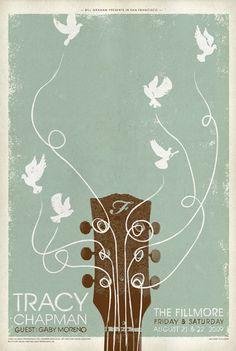 Tracy Chapman / Gaby Moreno. Poster design: Brad Kayal (2009).