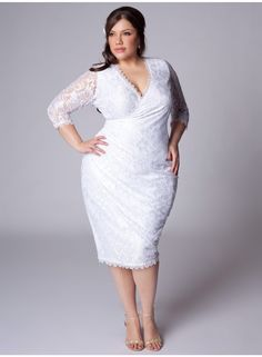 Incredibly awesome plus size simple white wedding dress. Beach Wedding The Igigi Womens Plus Size Gisela Wedding Dress elegant Faux Wrap Silhouette With V Hitched Plus Size Wedding Dresses To Feel Like Princess Bellatory White Plus Size Dresses, Plus Size Wedding Dresses With Sleeves, White Lace Wedding Dress, Plus Size Cocktail Dresses, Tea Length Dresses, Elegant Wedding Dress, White Wedding Dresses, Elegant Dresses, Vintage Dresses