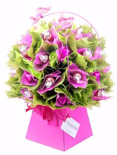 Pretty Pink Peony Chocolate Bouquet created with Lindt Truffles and Milk Chocolate Hearts