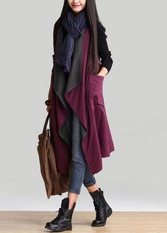 Pocket Asymmetric Hem Long Both Sides Wear Waistcoat